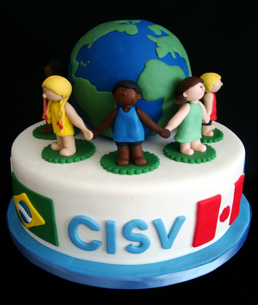 Hands around the world cake