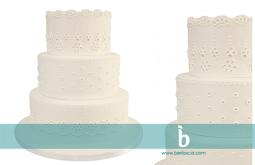 eyelet wedding cake white