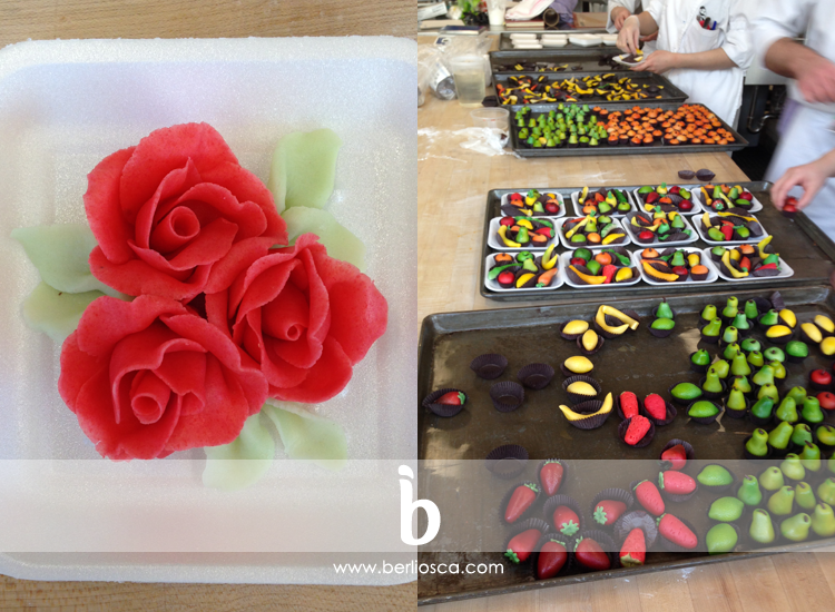 marzipan roses and fruits