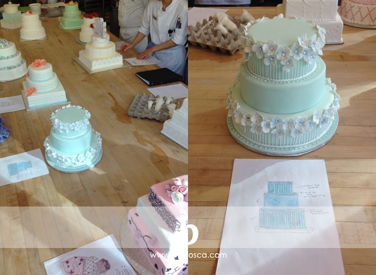 wedding cakes made in class, mine in blue with sugar hydrangeas